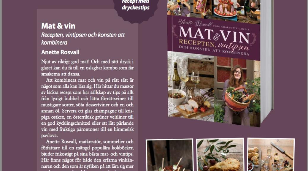 Anette Rosvall, Mat&Vin, Bokmässan, bok, författare