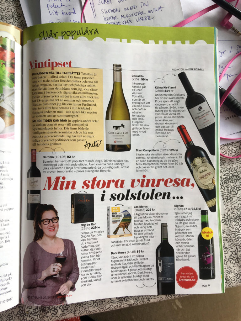 Året Runt, Mat&Dryck, Anette Rosvall, Vintips